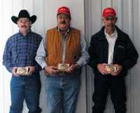 Top Hand Sponsors honored Saturday night include from left to right, Chuck Hoss, Jerry Webb, and Ed Hoss.
