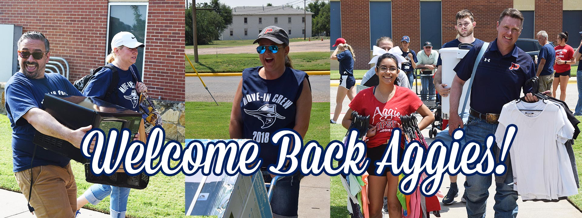 Staff moving students in - Welcome Back Aggies!