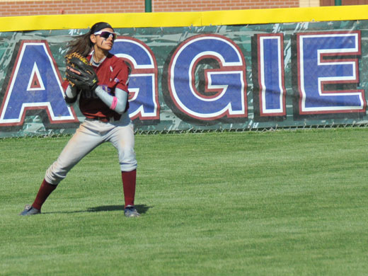 Julie Cross, a member of the 2012 Daktronics Softball South Central Region team, will be back at center field this spring for the Aggies.—OPSU photo