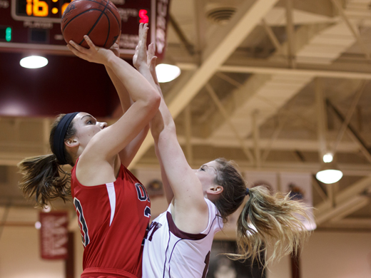 The OPSU women faced a tough McMurry defense Thursday night, and here, Aggie Shayla Mathis attempts a shot.—McMurry photo