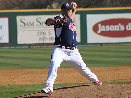 Corey Mingin threw a complete game in the Aggie season opener at McMurry on Friday.—McMurry photo