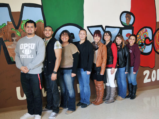 Shown here from left to right are eight of the HALO students who attended the conference in Chicago including Tony Mendoza, Ricardo Ramirez, Perla Ibarra, Karen Esquivel, Jaqueline Frias, Natalia Baez, Jazmin Frias, and Dalia Estrada. Not pictured are Alex Anchondo and Judith Torres.—Laura Nelson photo