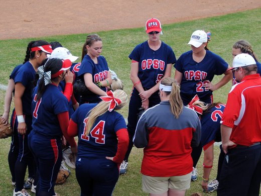 The OPSU softball team went 0-3 against #9 ranked St. Mary's University over the weekend.—Photo courtesy of Ruth Harmon Ward