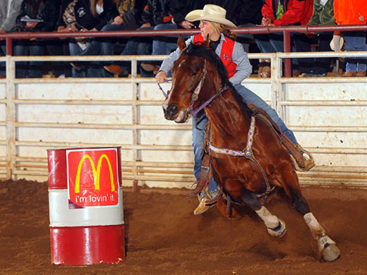 Randi Buchanan made the short round in the barrel racing at the Fort Scott Community College Rodeo held March 7-9. –Photo by Dale Hirschman