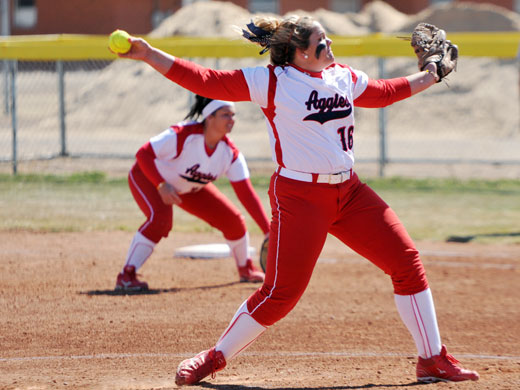 Samantha Arledge not only tossed a complete game plus pitched three innings in relief in game two, she also produced at the plate, getting four RBIs and hitting a home run.—Sage Fischer photo