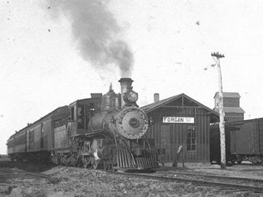 An old photo of the Forgan Depot—Courtesy of Jones and Plummer Trail Museum