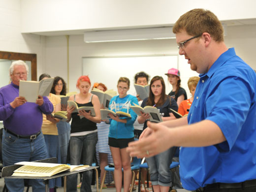 Joel Garber leads community members and OPSU students in rehearsal for the special masterwork concert planned for Saturday, April 20 on the OPSU campus.—Kassi Cannon photo