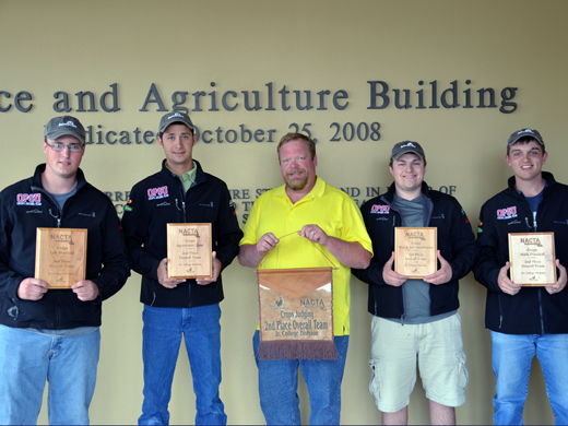 The OPSU Crops Judging Team finished an impressive season placing second at the National Crops Judging Contest in Moline, Ill. Pictured from left to right: Craig Bohl, Willem Pretorius, Dr. Curtis Bensch, Ryan Bryant, and Kelby Ross. — Photo by Sarah Henderson