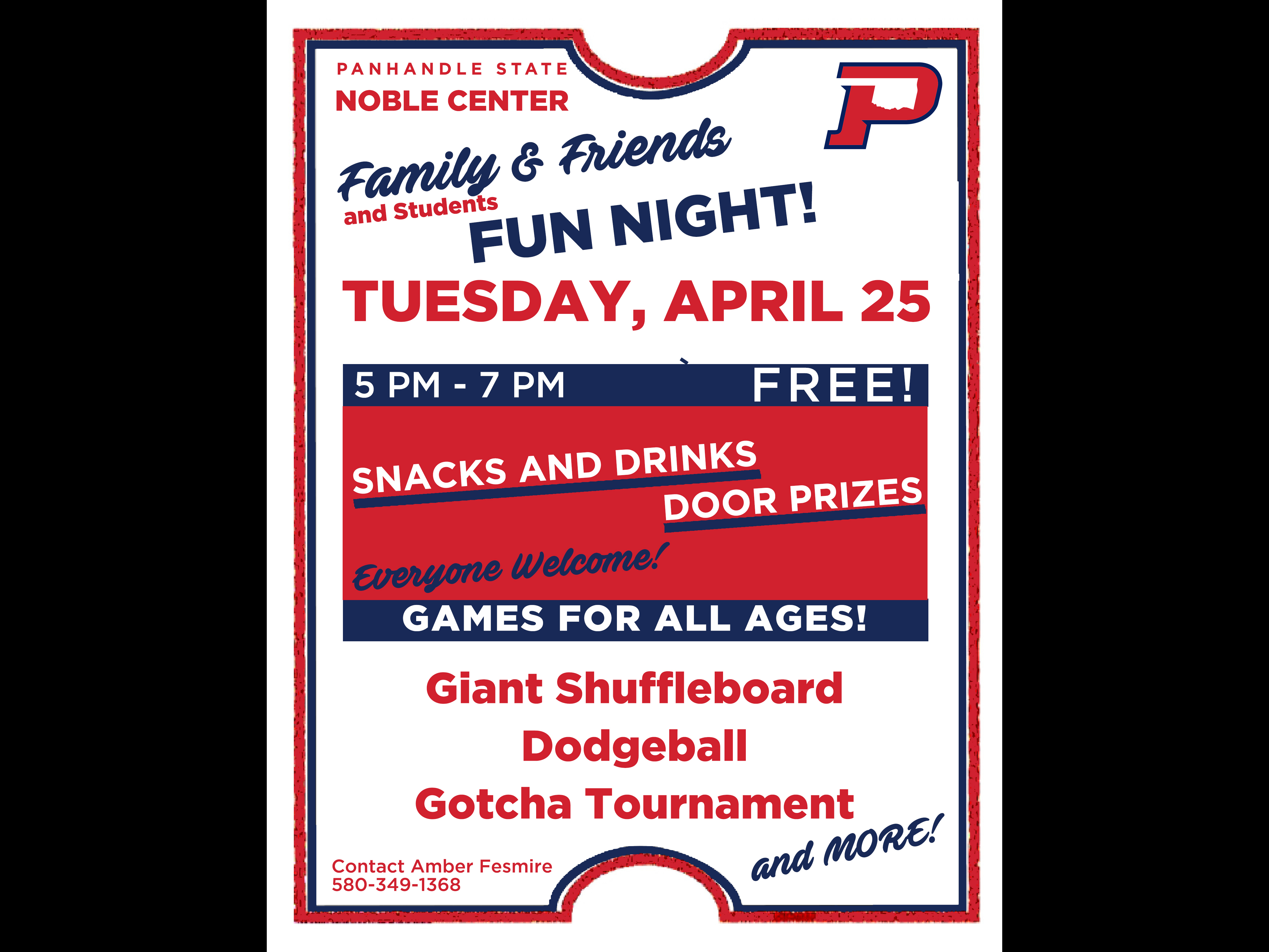 Join us for Family, Friends, and Students night at the Oklahoma Panhandle State University Noble Center on Tuesday, April 25 from 5 p.m. to 7 p.m.