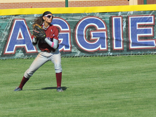 Julie Cross earned the distinction of being the first Aggie named to the Daktronics Softball South Central Region team.—Matthew Crook photo