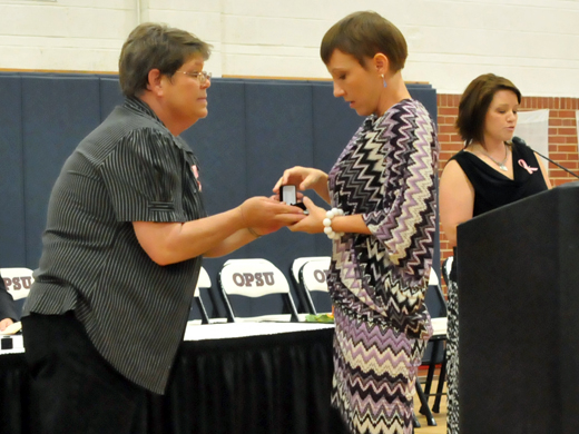 Connie Belford, Nursing Instructor presents graduate, Tosha Weyhmiller with her pin.—Justine Gaskamp photo