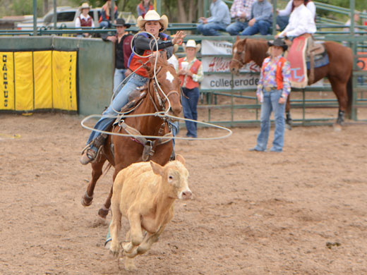 Kaylee Moyer, shown here in the breakaway roping at OPSU's Doc Gardner rodeo—Kelly Darnell photo