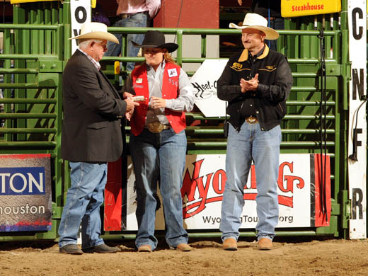 Shelbie Weeder, an OPSU senior, received the Walt Garrison Award and was recognized June 16th at the CNFR. —Photo by Dan Hubbell
