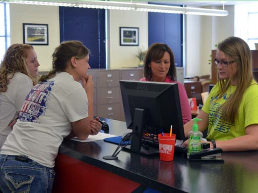 Students stop in the OPSU Admissions Office to begin the enrollment process for the fall semester. —Danae Moore