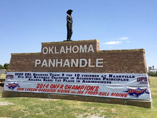 The recent achievements of OPSU students can be seen on banners when driving through Goodwell, Okla. on highway 54. —Photo by Danae Moore