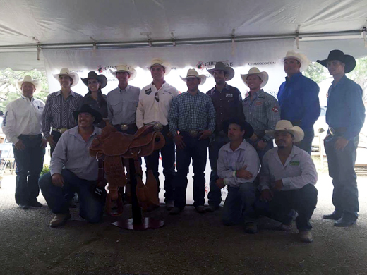 Panhandle State alumni J.D. Yates and Orin Larsen are pictured here with the other event winners at the Cheyenne Frontier Days. —Courtesy photo