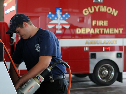 OPSU student and second year Guymon Fire Department intern, Dalton Bebout, preforms internship duties at the new fire station in Guymon.—Photo by Danae Moore