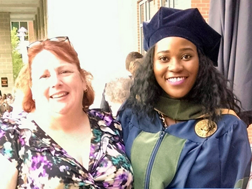 Pamela Nwachukwu (right) is pictured here at her May 2015 Doctor of Pharmacy graduation at West Virginia University. Rhonda Donaldson, former OPSU Assistant Librarian, on left. —Courtesy photo