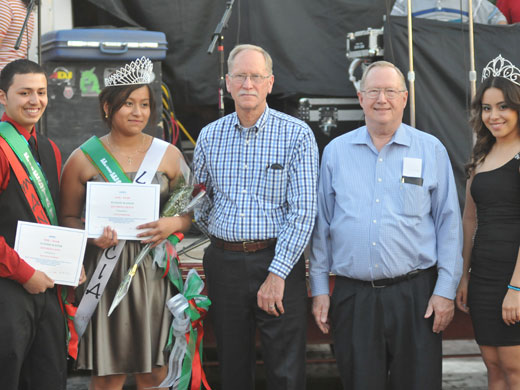 Pictured from left to right are Manuel Romero, Fiesta King; Leticia Bernabe, Fiesta Queen; Dr. Wayne Manning, Vice President of Academic Affairs and Outreach; Dr. Dave Bryant, OPSU President; and Dalia Estrada, last year's Fiesta queen and current OPSU student.—Kelly Darnell photo