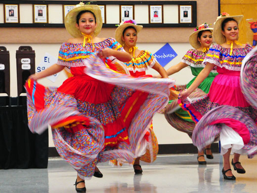 The Alma Folkloricá dancers from Guymon High School provided part of the entertainment at OPSU's annual Noche de Gala.—Matthew Crook photo