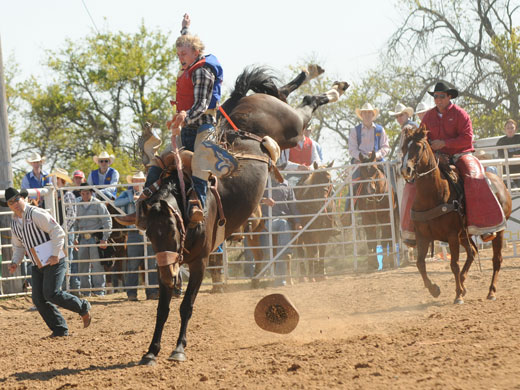 Allen Boore rode his way to the saddle bronc riding championship title at the Pratt Community College rodeo over the weekend.—Dale Hirschman photo