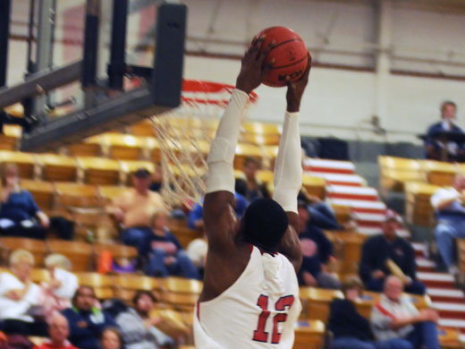 Tavien Rosemond with two at Saturday night's game against Barclay.—Kelly Darnell photo