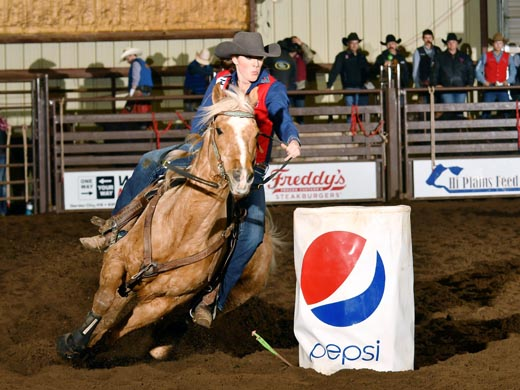 Melanie Roman won the barrel racing title this past weekend at the Garden City Community College rodeo. — Photo by Dale Hirschman