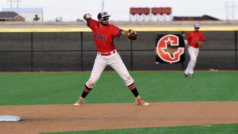 The Aggies were able to get in a three-game Heartland Conference series with the help of Gruver High School, who offered use of their baseball and softball facilities. - Sarah Brady photo