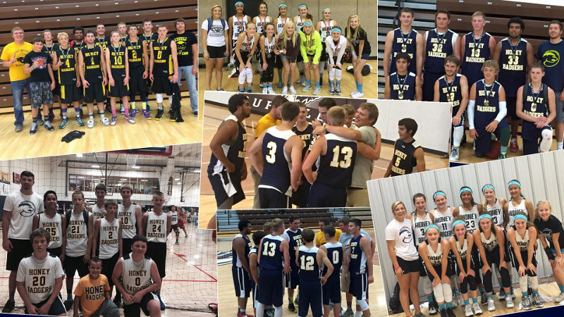 Aggies Jake Regier and Payson Slater spend their summers coaching youth teams throughout the Panhandle area. The Honey Badgers have grown to a group of five teams for young boys and girls to expand their basketball skills.-Courtesy photos