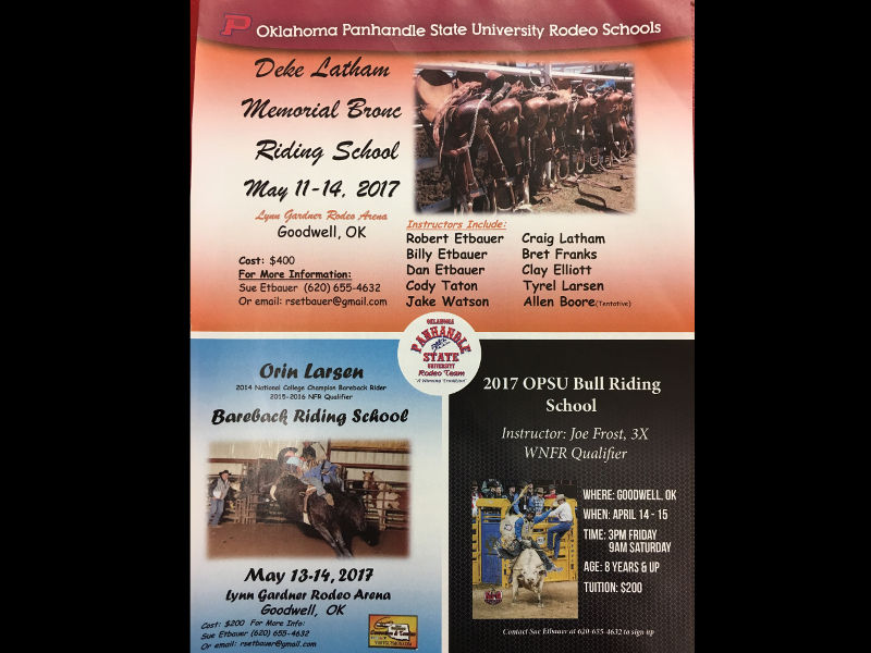 Within the next two months, the Oklahoma Panhandle State University Rodeo team will host schools for all three rough stock events; bull riding, bareback riding, and saddle bronc riding.