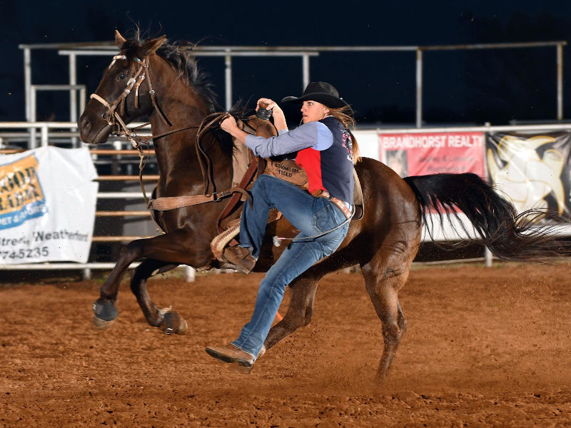 Mary Small had two solid goat tying runs at the SWOSU rodeo. —Photo by Dale Hirschman