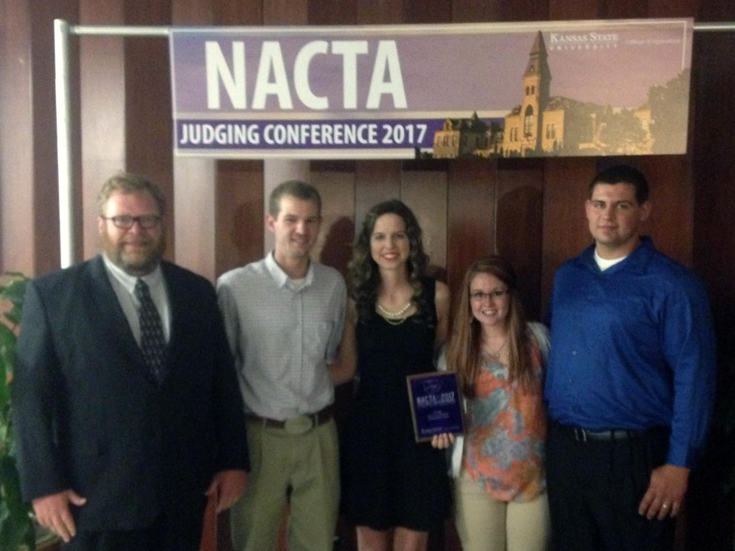 The Oklahoma Panhandle State University Crops Judging team recently finished second in the nation at the 2017 North American Colleges and Teachers of Agriculture (NACTA) Judging Conference in Manhattan, Kan. held April 6-8 at Kansas State University. Pictured from left to right: Dr. Curtis Bensch, Cody Fischer, Sidney Rentz, Tyler Meyeres, and Ben Brady. —Courtesy photo