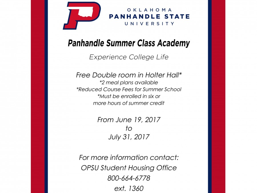 Oklahoma Panhandle State University is excited to offer a summer resident's program from June 19- July 31.