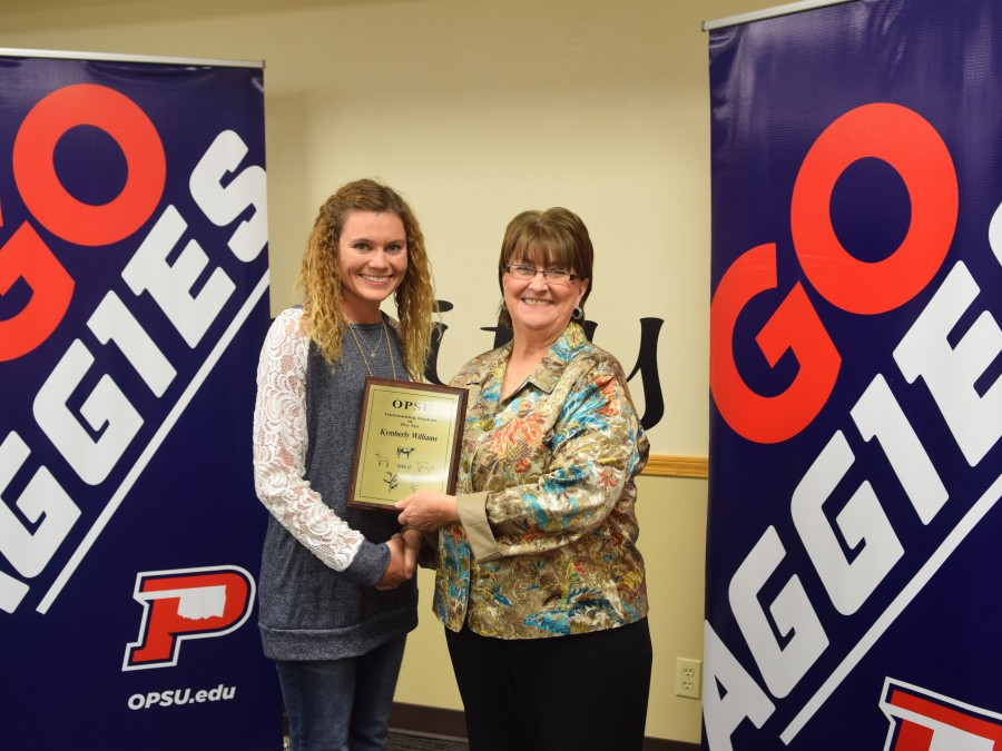 Kymberly Williams of Gruver, Texas was named the outstanding Pre-Vet student at the annual Ag Banquet on May 19. —Photo by Sarah Brady