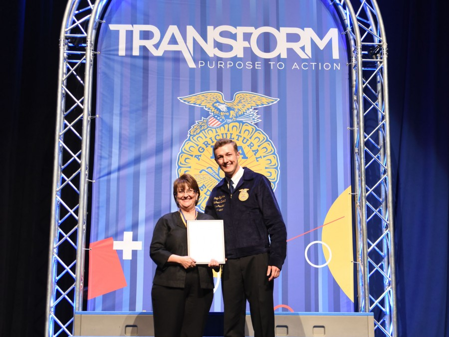 Dr. Sandol Johnson received the Honorary State FFA Degree at the 2017 State FFA Convention in Oklahoma City. —Courtesy Photo