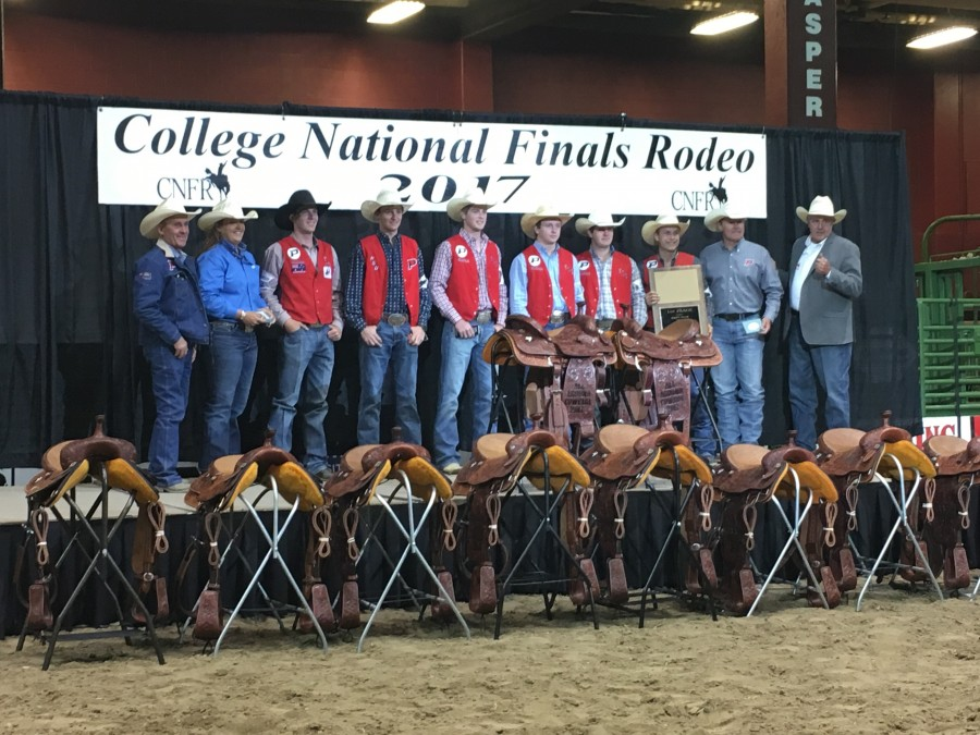 It was a team effort all week long at the 2017 College National Finals Rodeo (CNFR) for the Panhandle State Men's Rodeo team as they secured their sixth national title. (Courtesy photo)