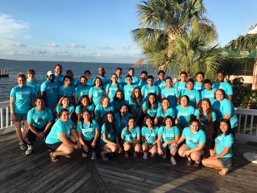 The Upward Bound group pauses for a quick photo at Lighthouse Buffet at Kemah Boardwalk during their recent educational trip that wrapped up a six-week summer camp. —Courtesy photo