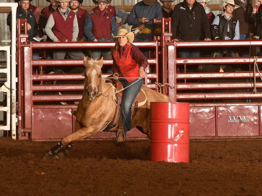 Shay Spitz ran the fastest time of the weekend in the barrel racing at the college rodeo at Northwestern Oklahoma State University in Alva, Okla. this past weekend. —Photo by Dale Hirschman