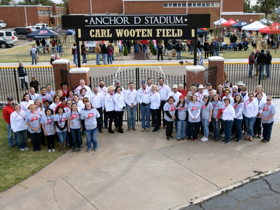 Anchor D gathered by the entrance to Anchor D Stadium at Panhandle State Homecoming on October 28. —Photo by Danae Moore