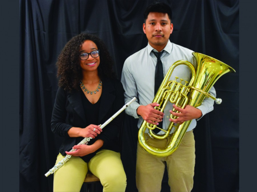 Music education majors Jasmine Brown-Jutras and Felipe Gonzalez will perform a senior recital on Thursday, November 9 at 8 p.m. in Centennial Theatre at Hughes-Strong Hall. The performance is free to the public and everyone is invited to attend. —Photo by Danae Moore