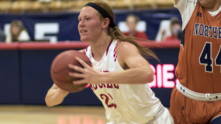 Madison Dearmin led the Aggies in rebounds with seven boards in an exhibition match against NCAA opponent Oral Roberts. -Beverly Hintergardt photo