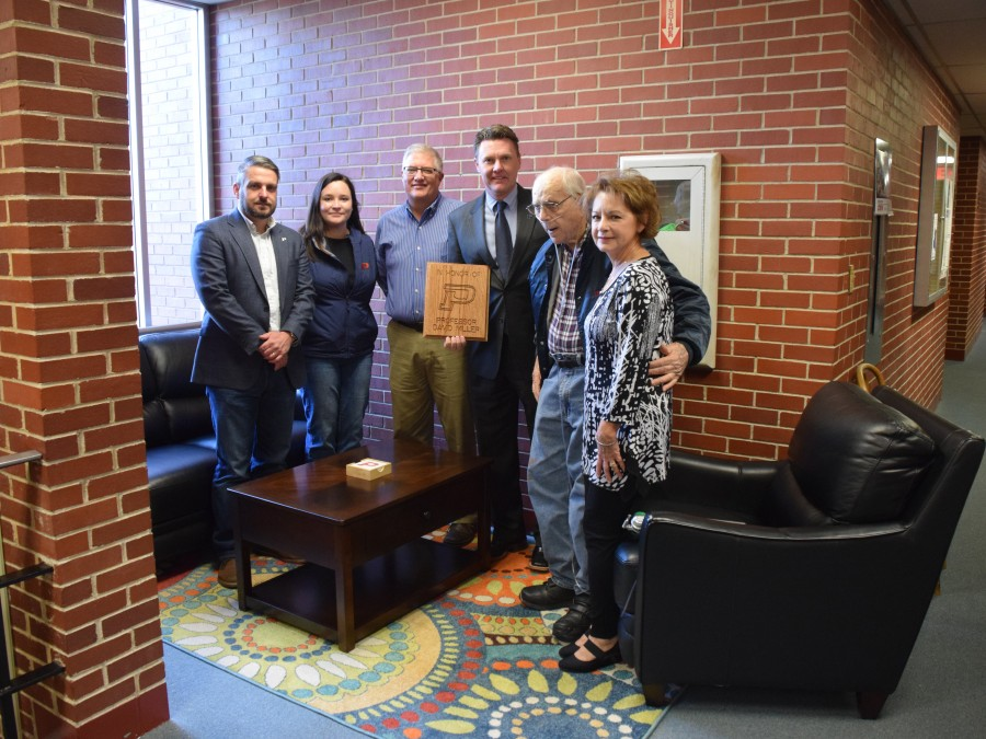 Dr. Blanton, Dr. Dinger, Davin Winger, Dr. Faltyn, Lester Miller and Rose Miller pause for a photo at the David Miller Student Lounge. —Photo by Danae Moore