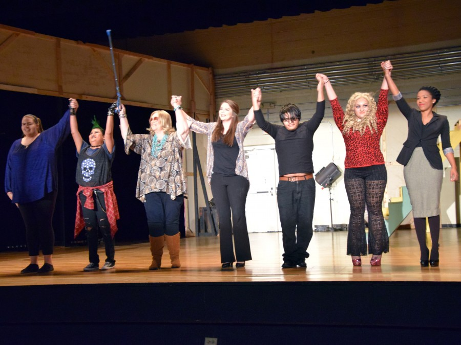 The cast members of Nobody Cries in This Play take a bow after one of the three successful performances in Centennial Theatre. —Photo by Maxine Henderson