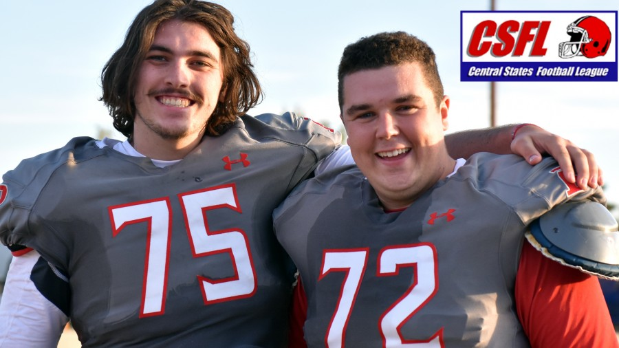 Aggie O-linemen Jakob Popple (left) and Samuel Lemin (right) are two of 11 Aggie football players listed as CSFL All-Academic team members for 2017.-Sarah Brady photo
