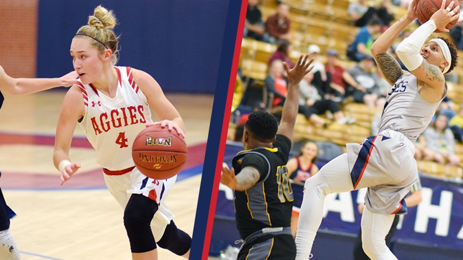 (Left) Morgan Latta and (right) DK Sumo were each among the Aggies' top contributors in Monday's victory performances at Panhandle State.-Rylee Higgins photos