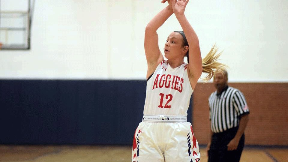 Junior Monti Regier led the Aggie women's basketball team with 22 points in their first SAC victory of the season over Texas Wesleyan.-Rylee Higgins photo