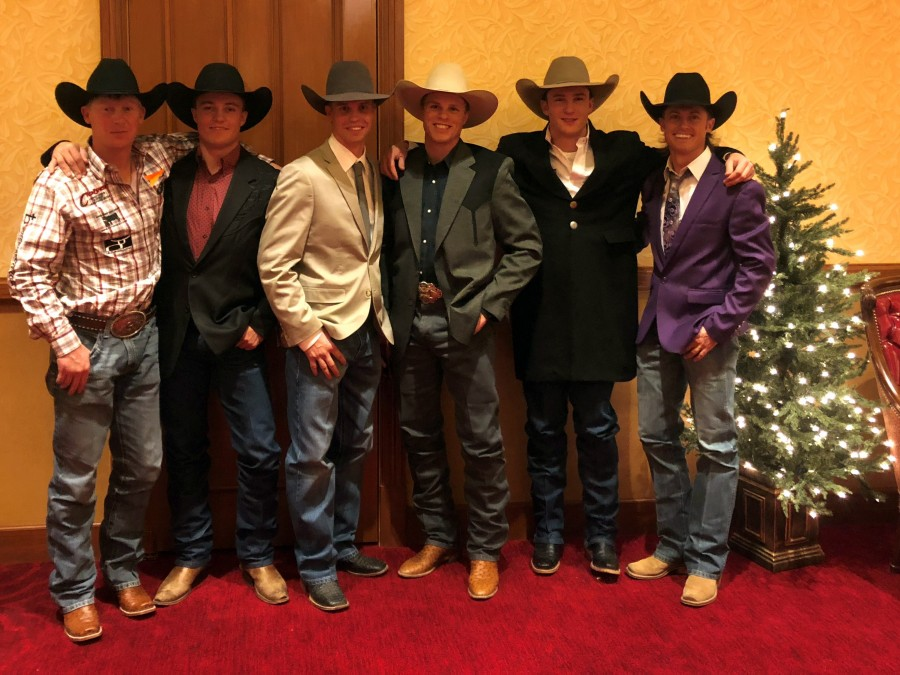 Six former Aggies are competing in the NFR December 7-16. Pictured here at the Back Number Ceremony from left to right: Taos Muncy, Audy Reed, Orin Larsen, Joe Frost, Clay Elliott, Hardy Braden. —Photo by Shelbie Weeder