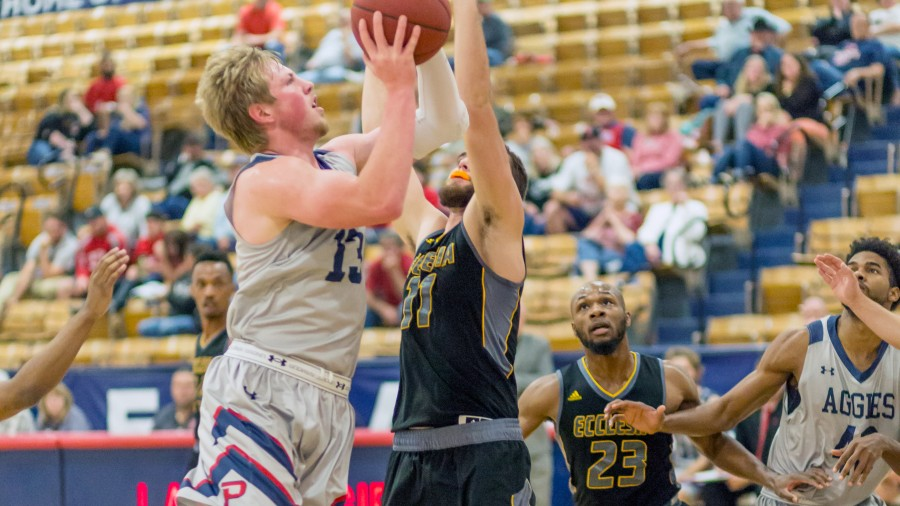 Jaedon Whitfield hit the game-winning three-point shot at the buzzer to give the Aggies an 84-83 victory over SWOSU.-Beverly Hintergardt photo (11-27-17 Ecclesia)