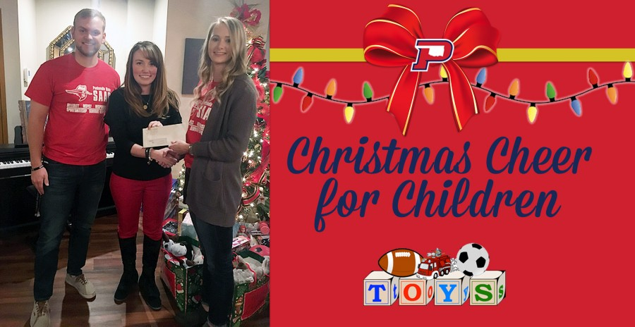 Panhandle State SAAC members Seth Howlett and Madison Linton present Charity Hitch with a check for Christmas Cheer for Children. - Courtesy photo
