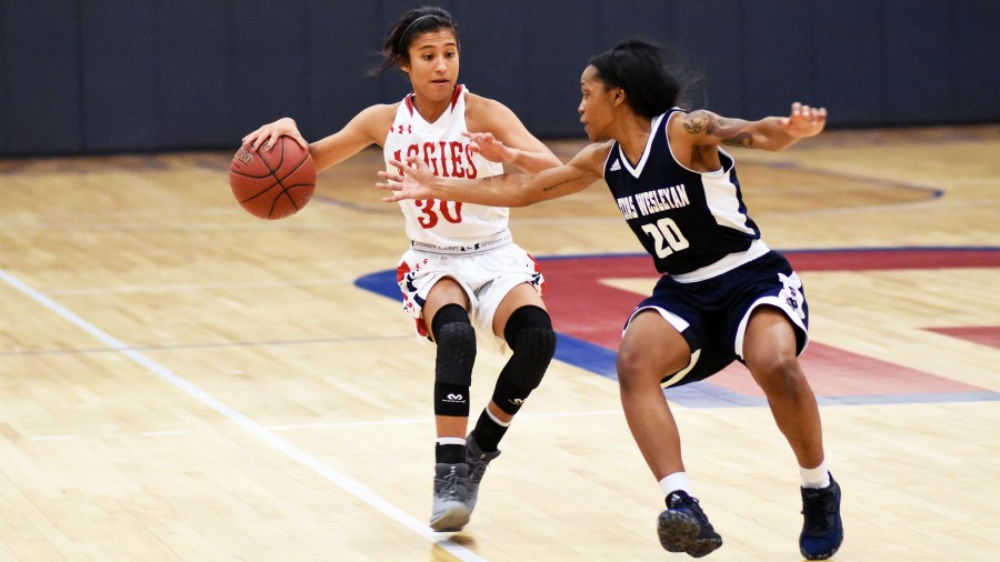 Freshman point gaurd Naomi Rodriguez up double-digits off the bench, scoring 12 points in the Aggies SAC victory over Texas Wesleyan Thursday night. - Sarah Brady photo